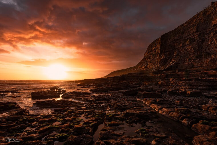 Sky Blaze - Seascape Photograph during an amazing sunset in Wales